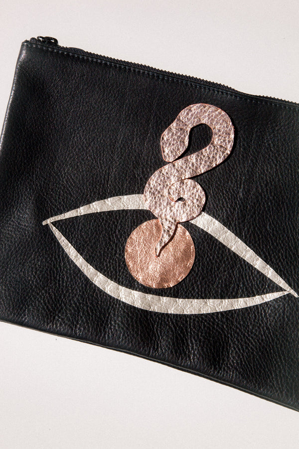 Embroidered Black Baggu Clutch -  Snake Eye