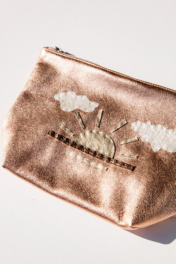 Embroidered Baggu Stash Clutch -  Copper Sunrise