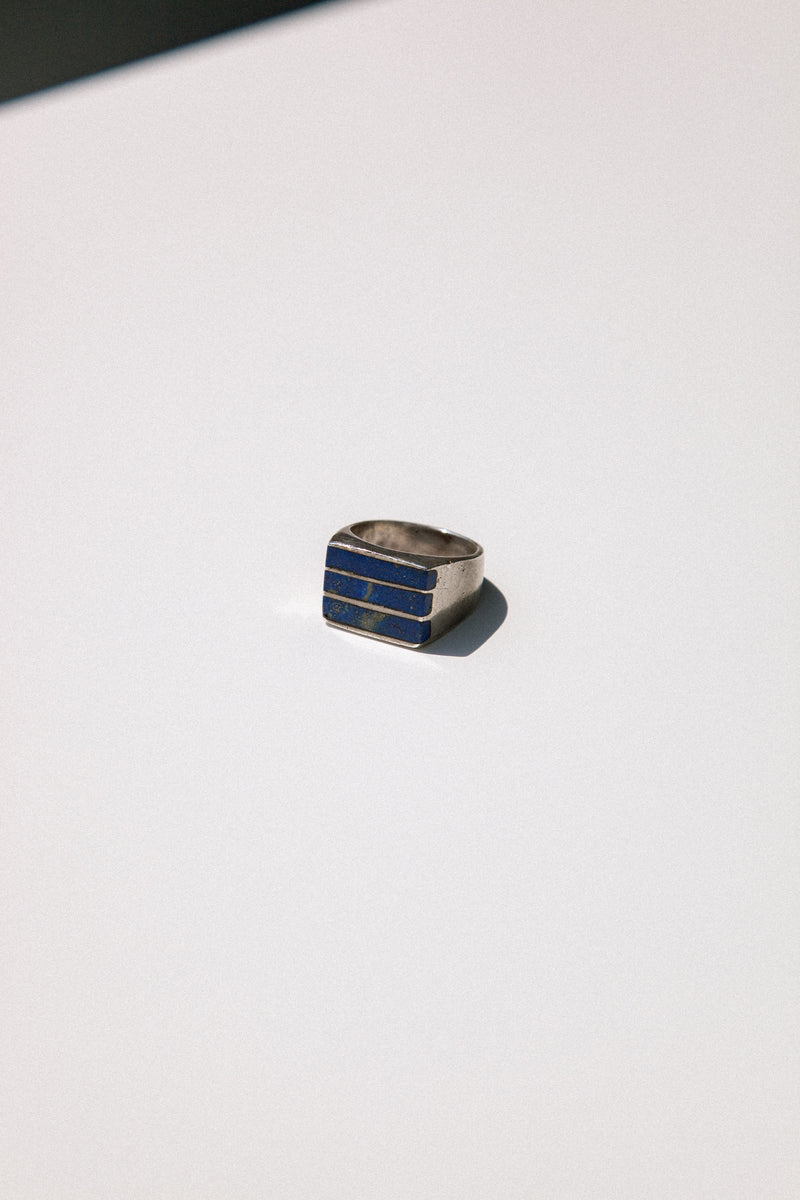 Vintage Silver and Lapis Signet Ring