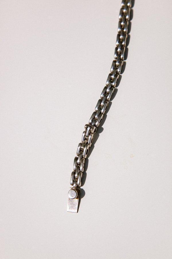 Thin Silver Mexican Link Bracelet