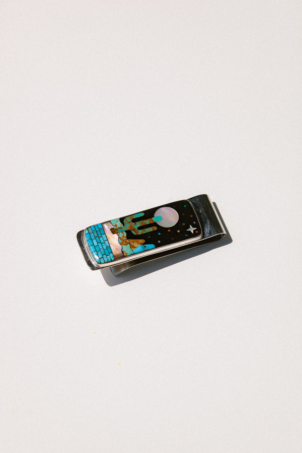Cactus Moon Scene Inlay Money Clip