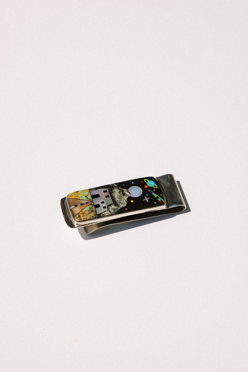 Desert Space Scene Inlay Money Clip