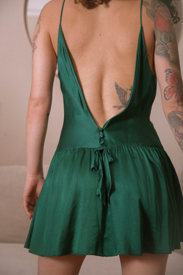 Vintage Emerald Silk Slip Dress