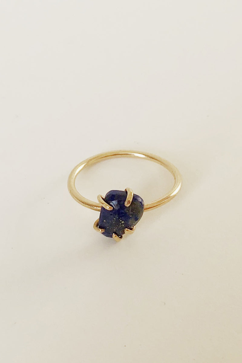 14k Organic Basket Lapis Ring