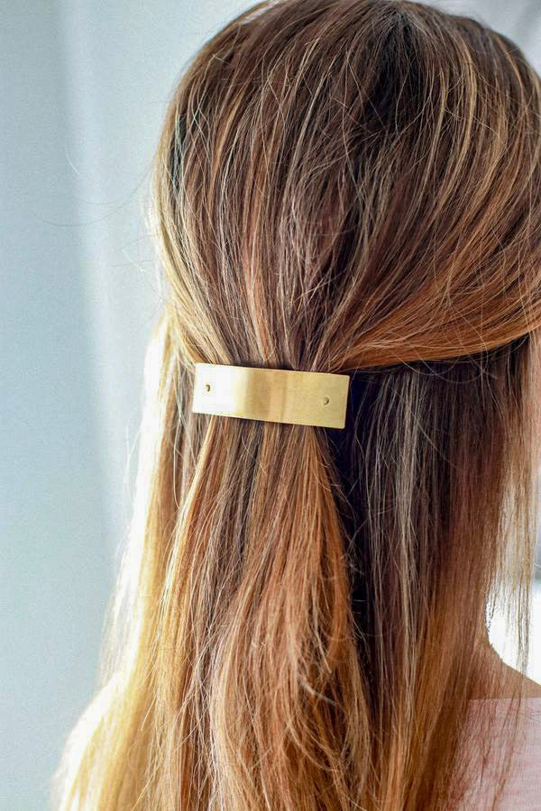 Brass Rectangle Barrette