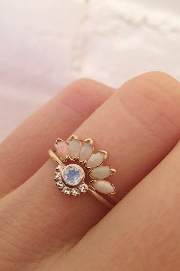 Rainbow Moonstone & Diamond Aztec Ring