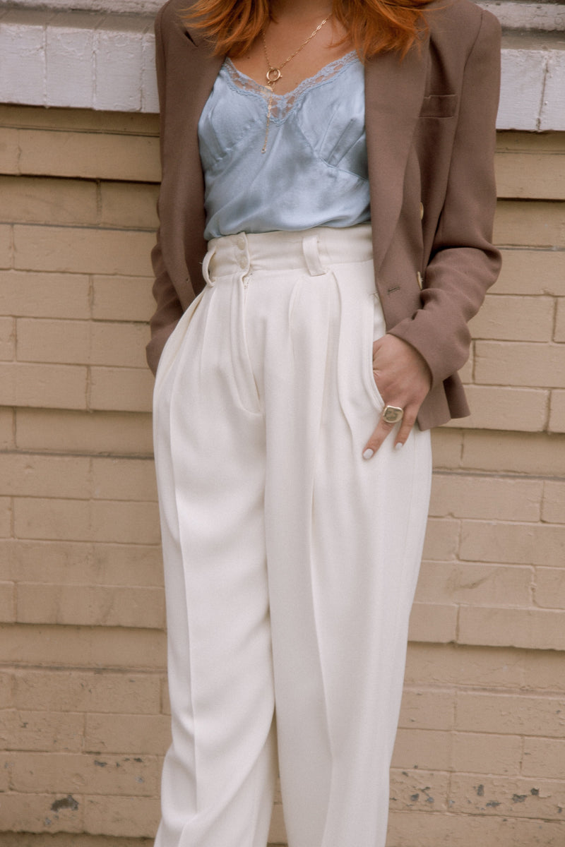 Vintage 90's Hi-Waist Pleated Ivory Pants