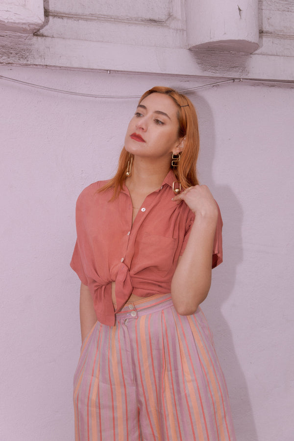 Vintage Rose Silk Blouse