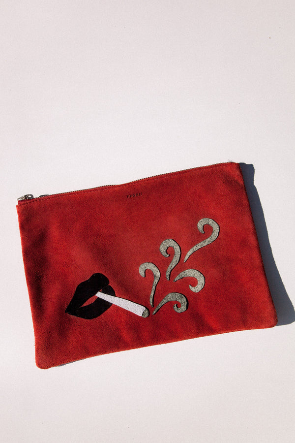 Embroidered Ruby Clutch
