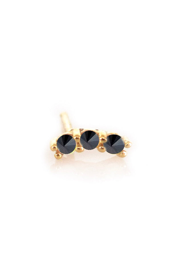 14k Mini Black Diamond Curve Stud (Single)