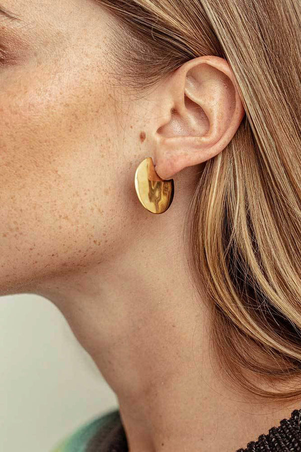 Ripple Disc Hoop Earring