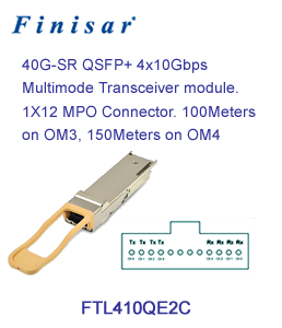 Finisar FTL410QE2C 40BASE-SR4 QSFP+ GEN2 MULTIMODE TRANSCEIVER