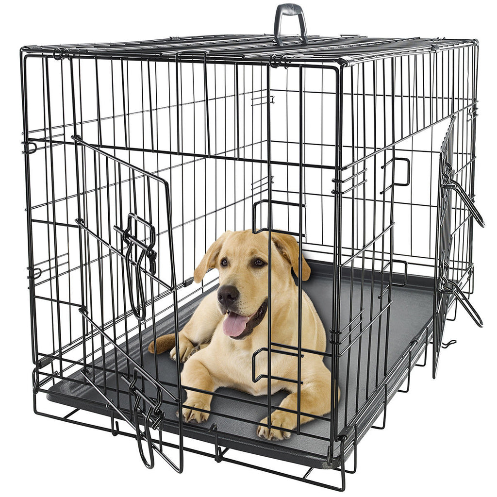 Dog Crate Double Doors Folding Metal W/ Divider U0026 Tray