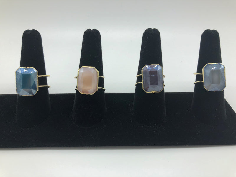 FACETED RECTANGLE RING-PEACH