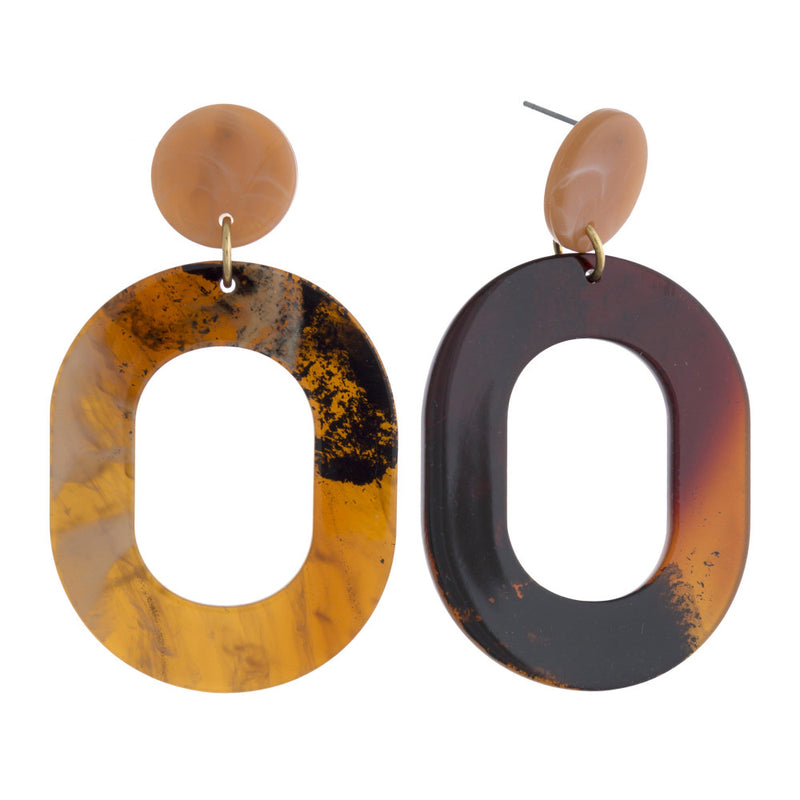 ASIAN HORN EARRINGS-BROWN