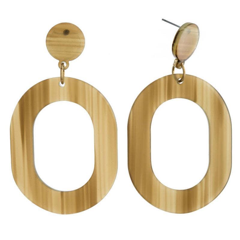 ASIAN HORN EARRINGS-OLIVE
