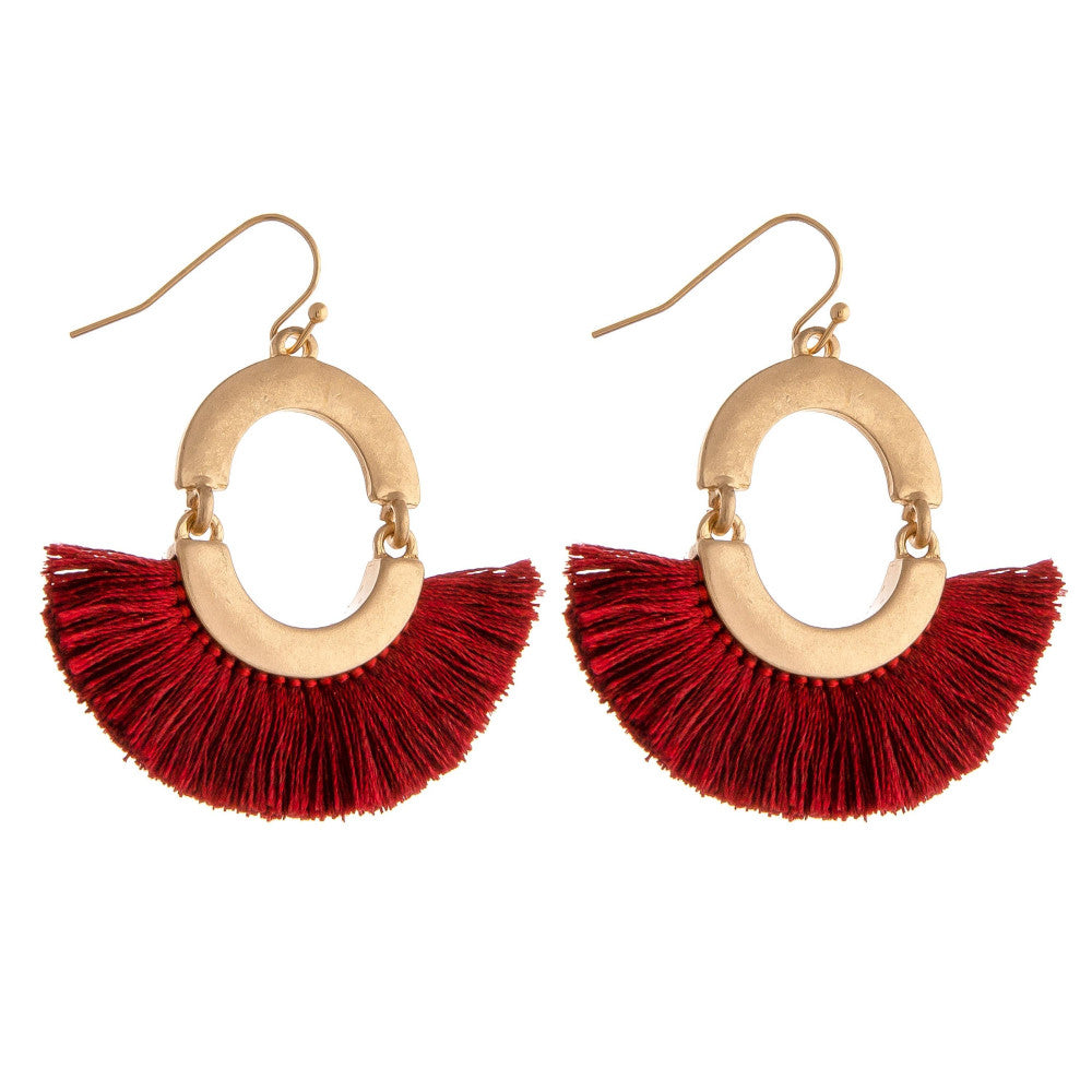 CIRCLE TASSEL DROP EARRINGS-BURGUNDY