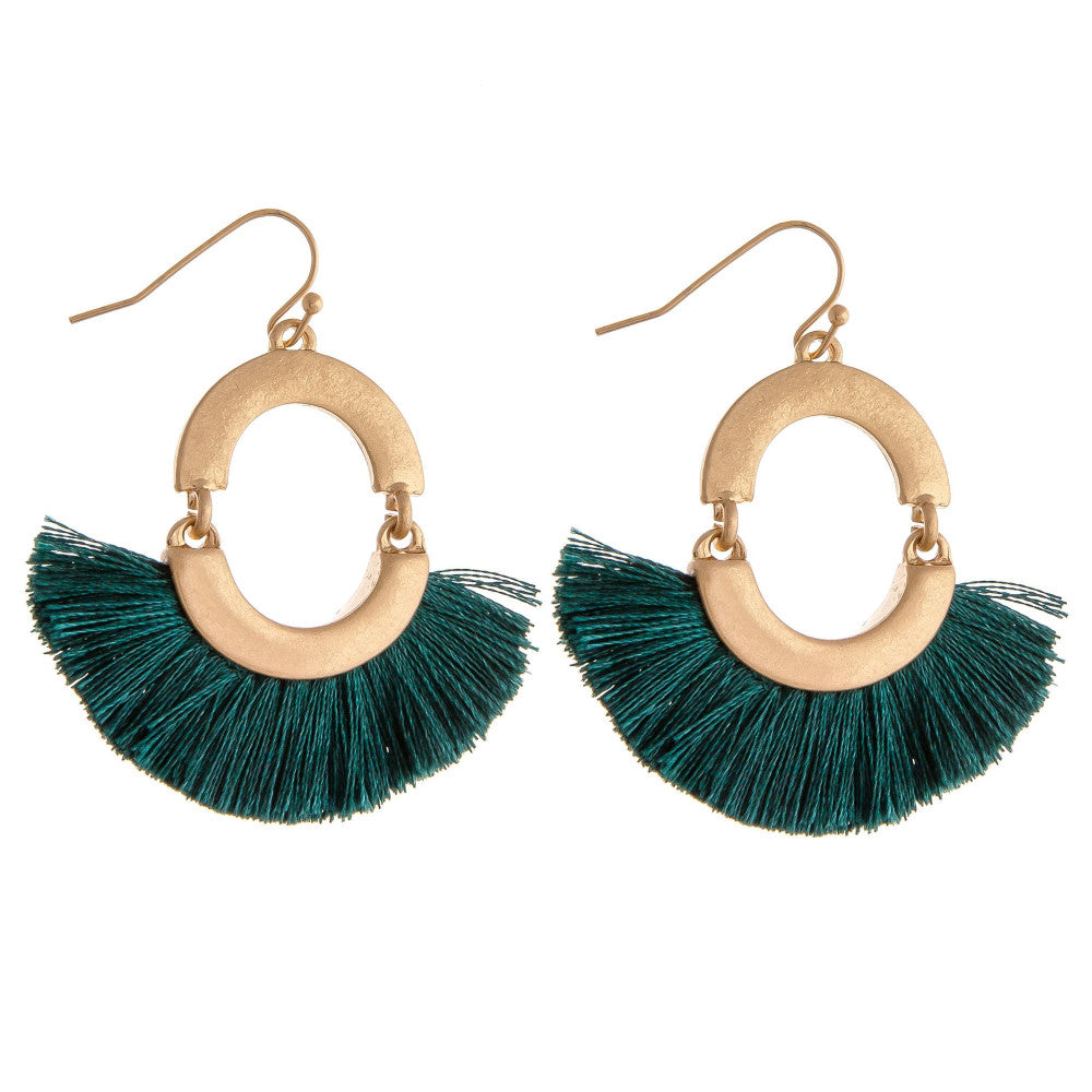 CIRCLE TASSEL DROP EARRINGS-TEAL