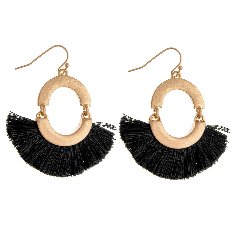 CIRCLE TASSEL DROP EARRINGS-BLACK