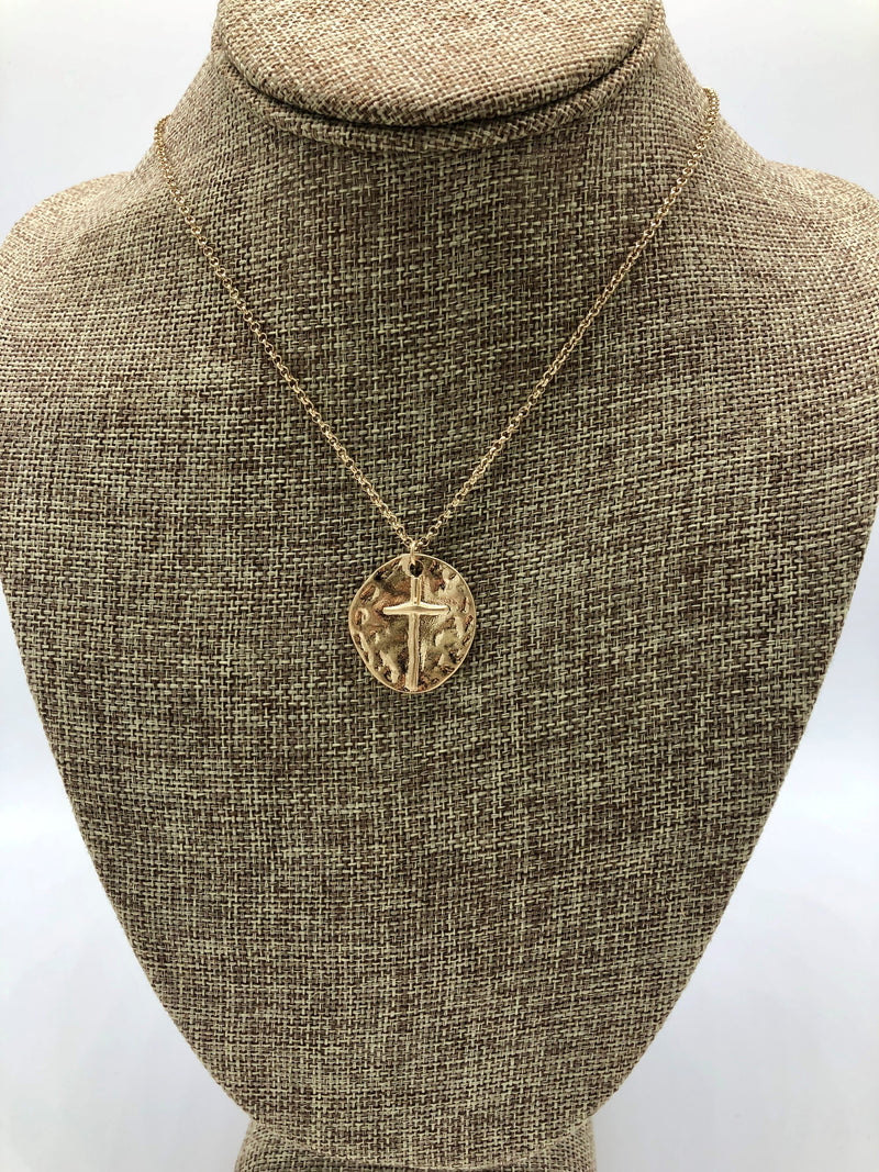 COIN CROSS NECKLACE-GOLD