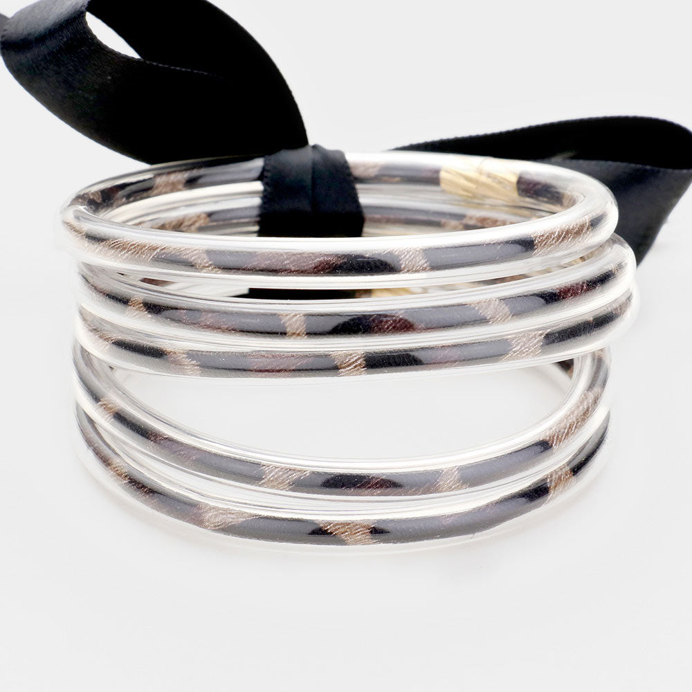 JELLY BANGLE BRACELET- DARK LEOPARD