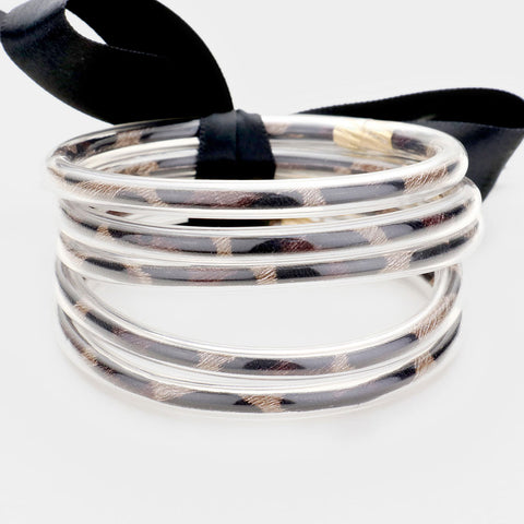 JELLY BANGLE BRACELET- LIGHT LEOPARD