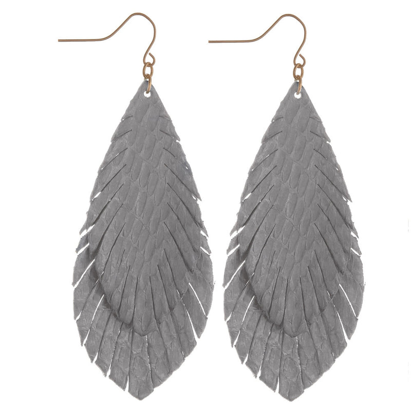 DOUBLE FEATHER EARRINGS STEEL GREY