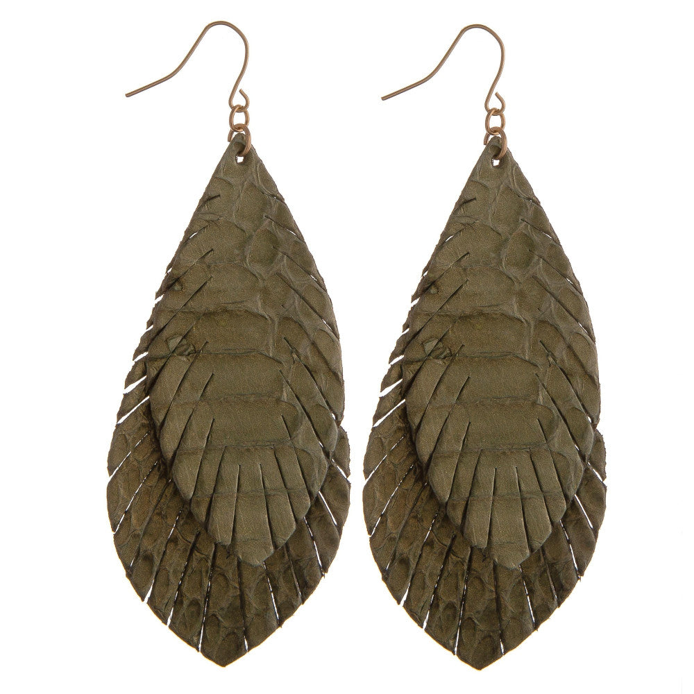 DOUBLE FEATHER EARRINGS CAMMO GREEN