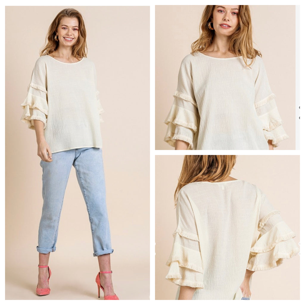 CADENCE RUFFLE SLEEVE TOP