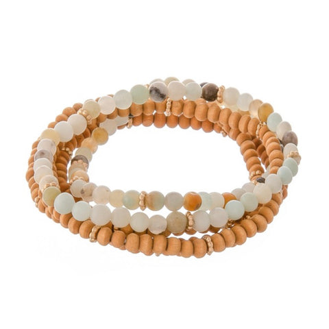 ZANZIBAR WOOD BEAD STRETCH BRACELET-GREY