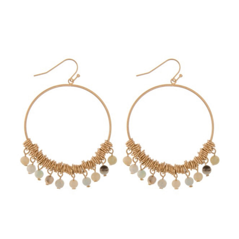 STONE-FRINGE HOOP EARRINGS