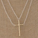 HOW GREAT THOU ART LAYERED CHAIN CROSS NECKLACE