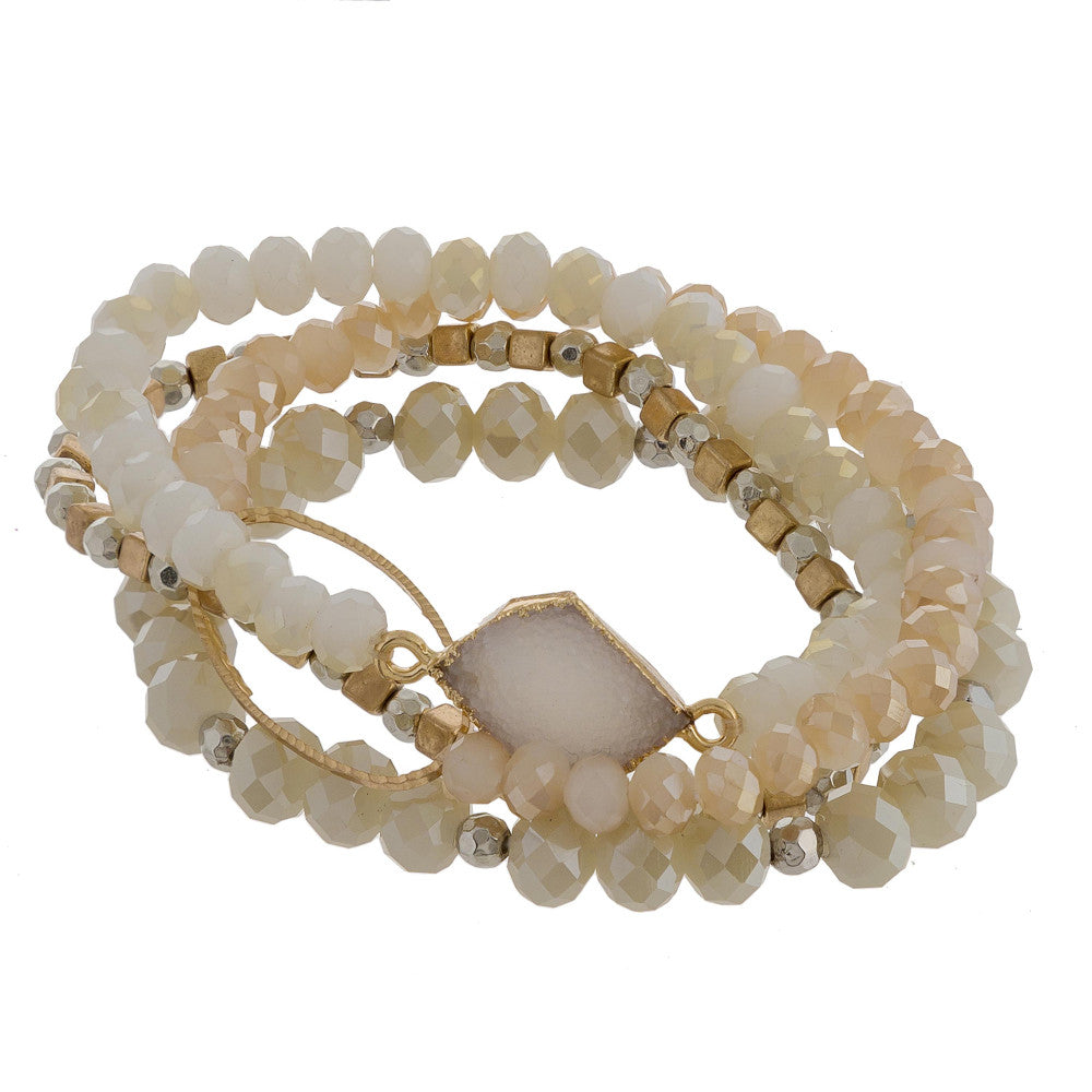 BEATRIZ BEADED STRETCH BRACELET-CREAM