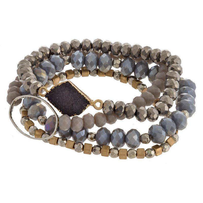 BEATRIZ BEADED STRETCH BRACELET-GRAY