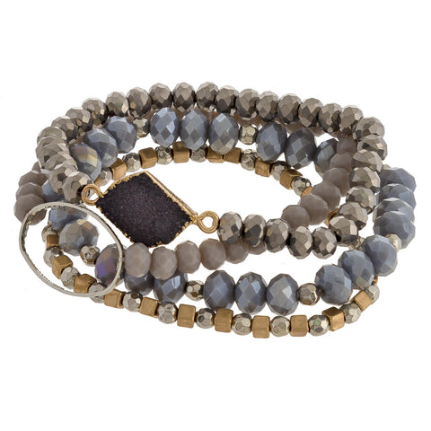 X CRYSTAL BRACELET-CHOCOLATE