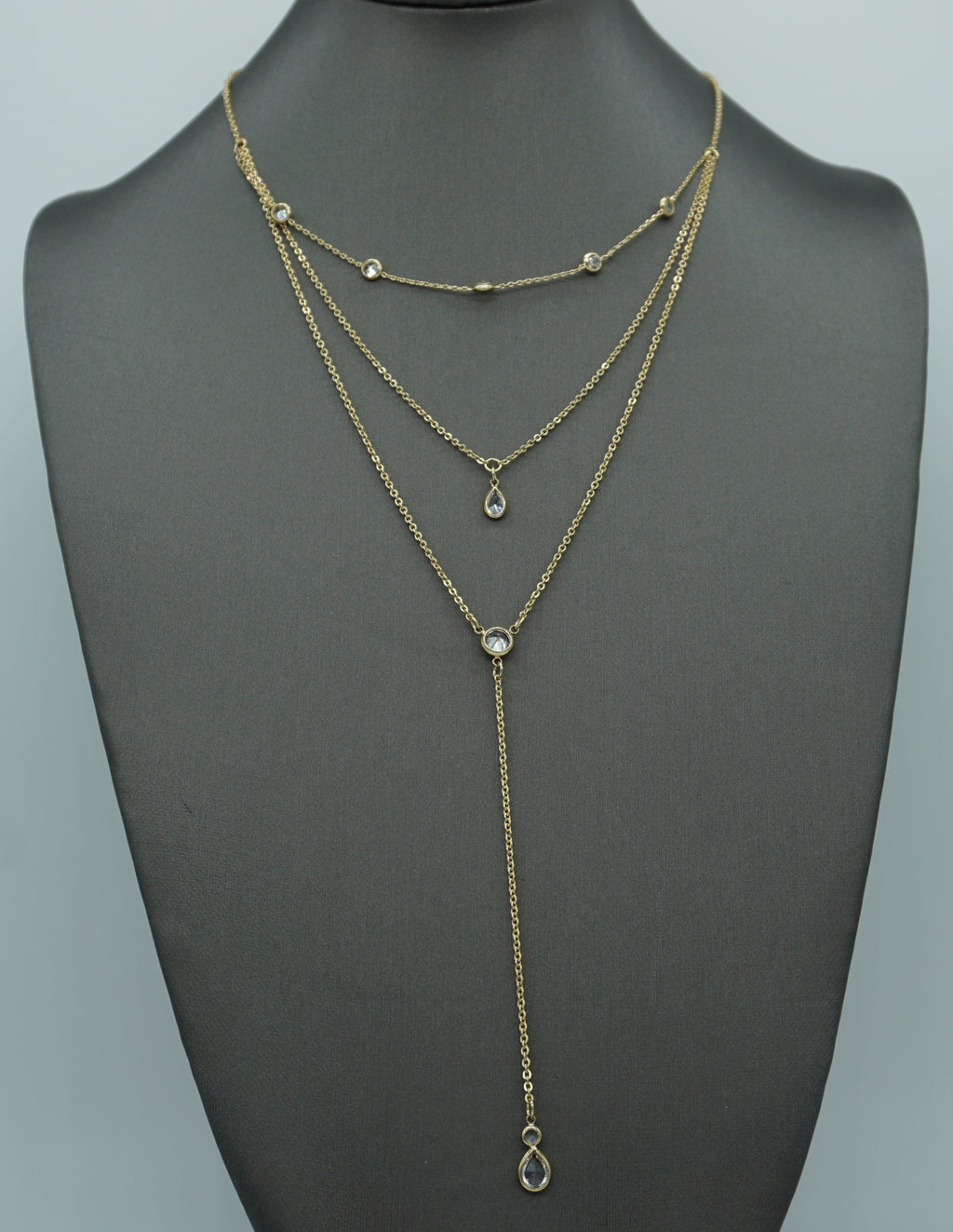Y LAYERED  NECKLACE-GOLD