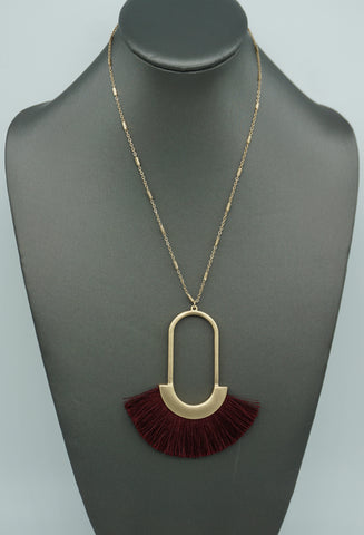 STONE AND TASSEL Y NECKLACE-ROSE QUARTZ