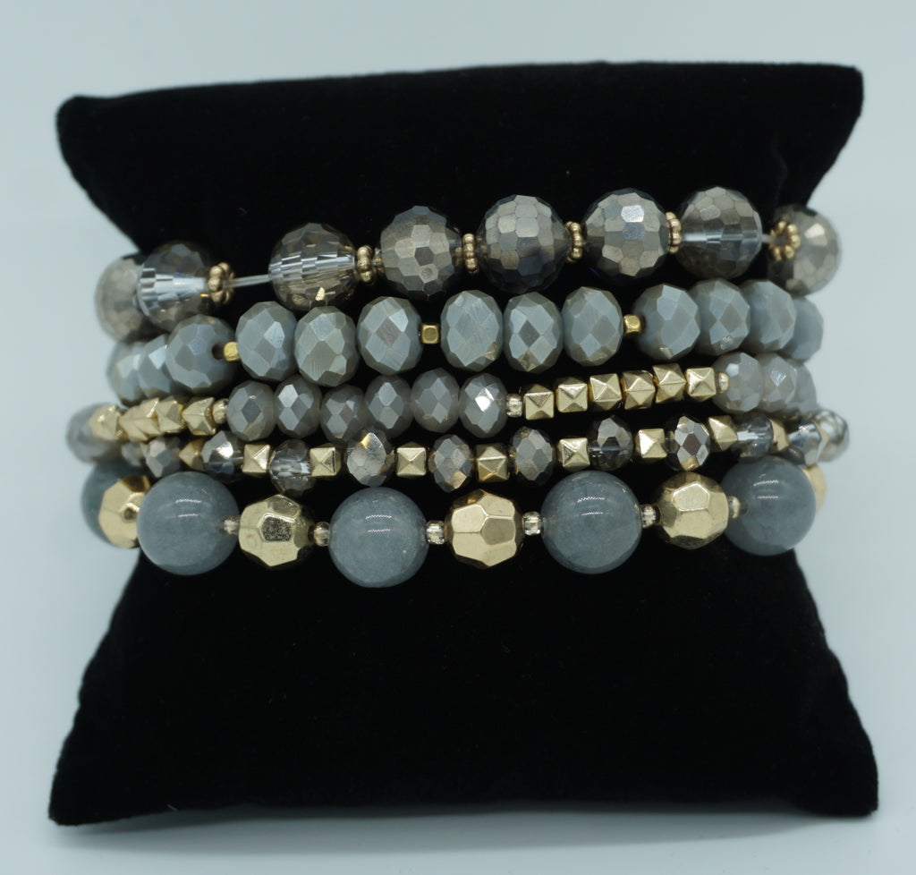 MULTI STRAND STACKED STRETCH BRACELET-GRAY