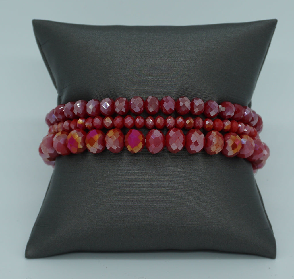 BEADED STRETCH BRACELET-RED