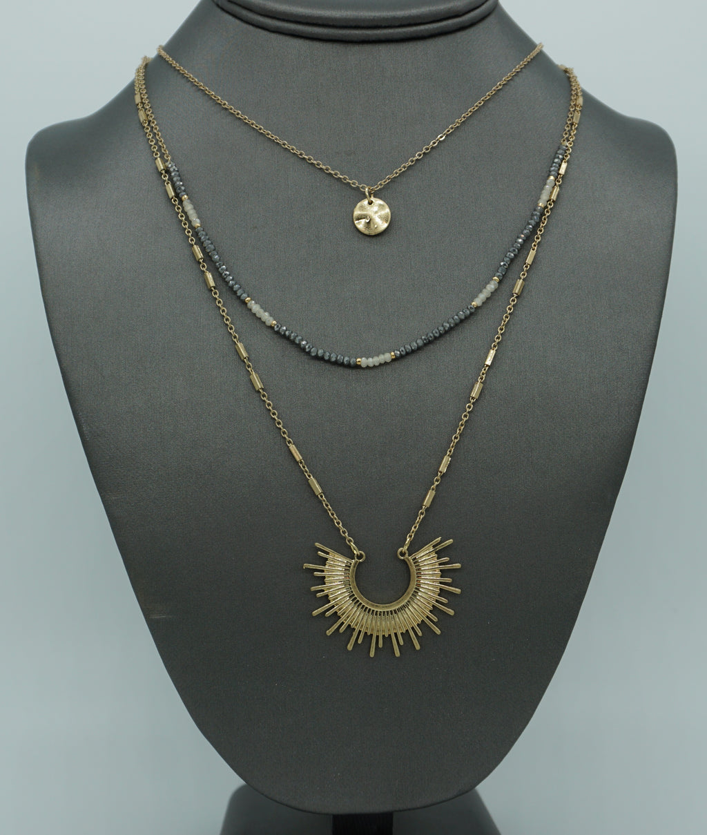 SUNBURST TRI LAYER NECKLACE-AQUA