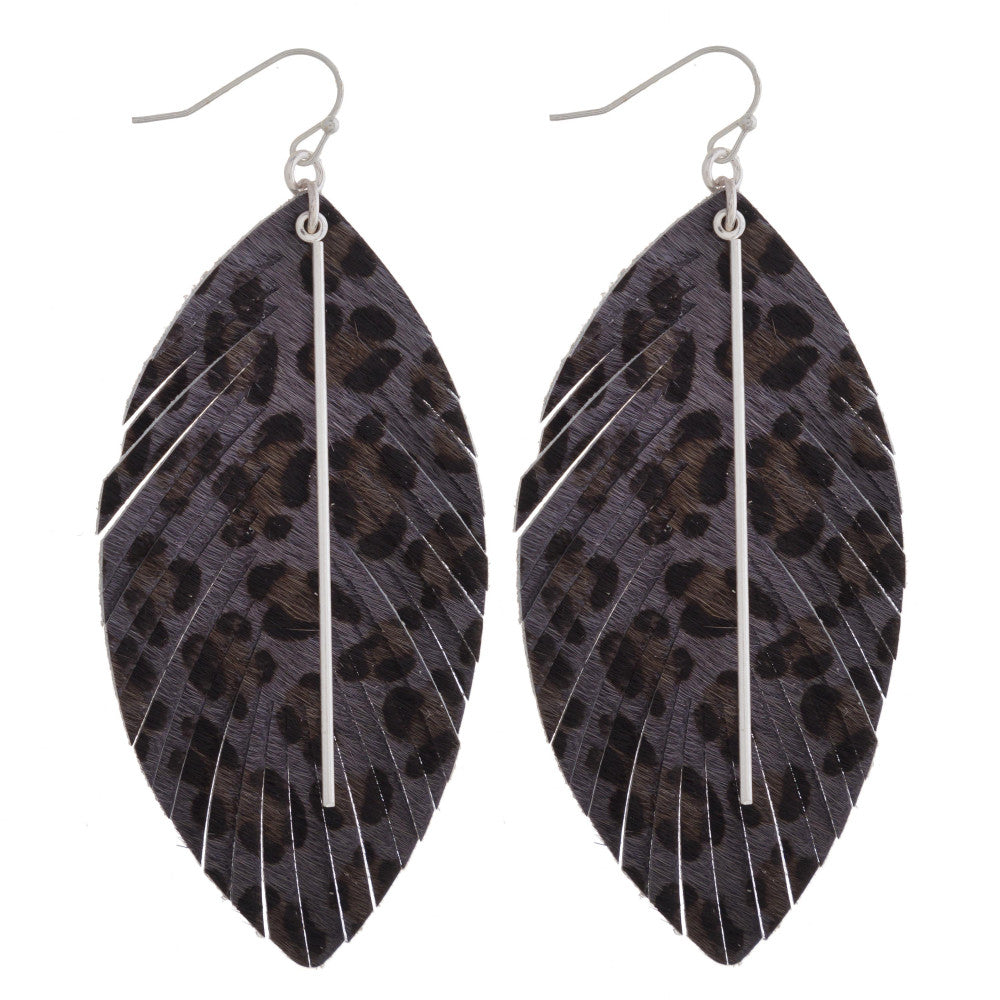 GRAY LEOPARD FEATHER EARRINGS