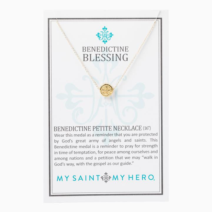 MY SAINT MY HERO BENEDICTINE PETITE NECKLACE- GOLD/SILVER