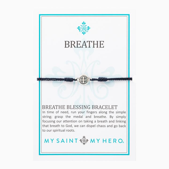 MY SAINT MY HERON BREATHE BRACELET- SILVER/BLACK