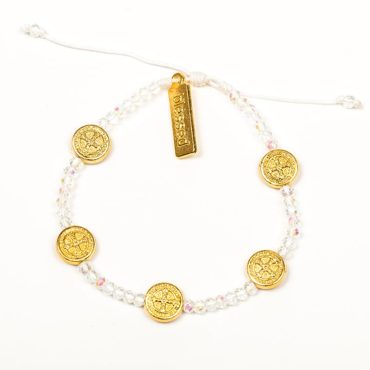 MY SAINT MY HERO GRATITUDE BRACELET- GOLD/CRYSTAL