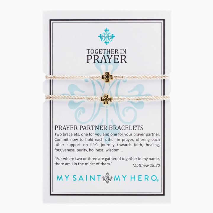 MY SAINT MY HERO PRAYER PARTNER BRACELETS- GOLD/METALLIC GOLD