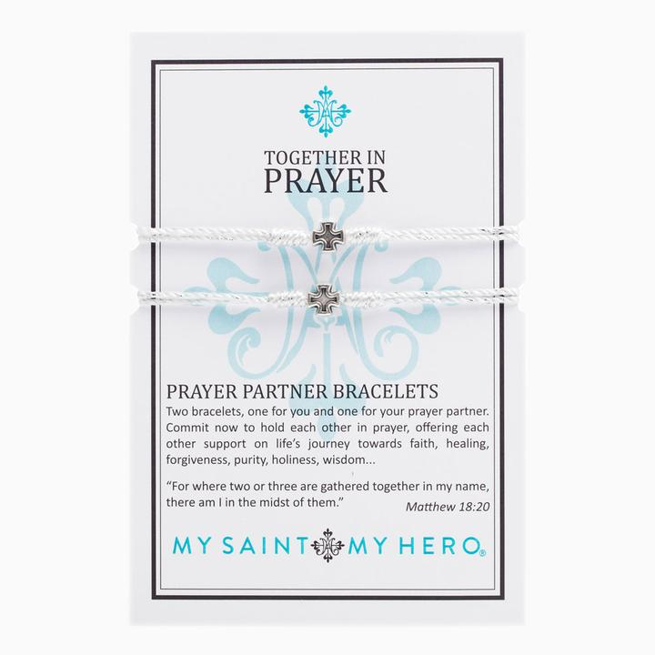 MY SAINT MY HERO PRAYER PARTNER BRACELETS- SILVER/METALLIC SILVER