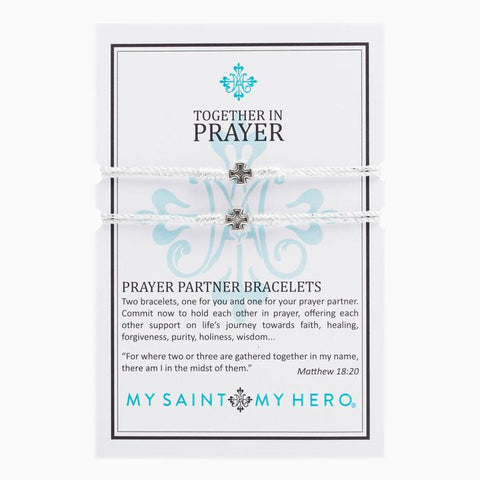 MY SAINT MY HERO PRAYER PARTNER BRACELETS- SILVER/BLACK