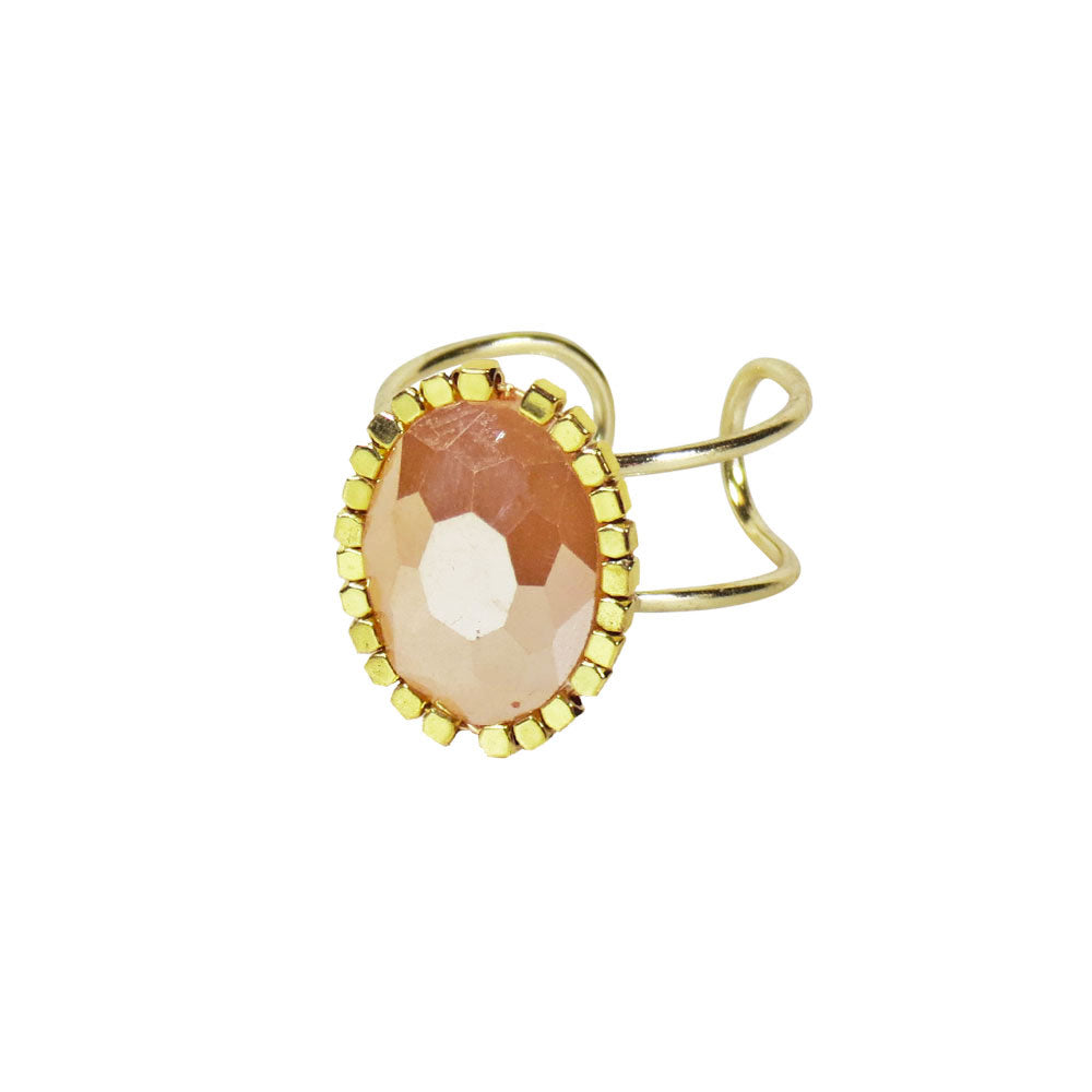 GOLD TONED OVAL RING-TOPAZ
