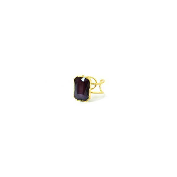 FACETED RECTANGLE RING-PURPLE