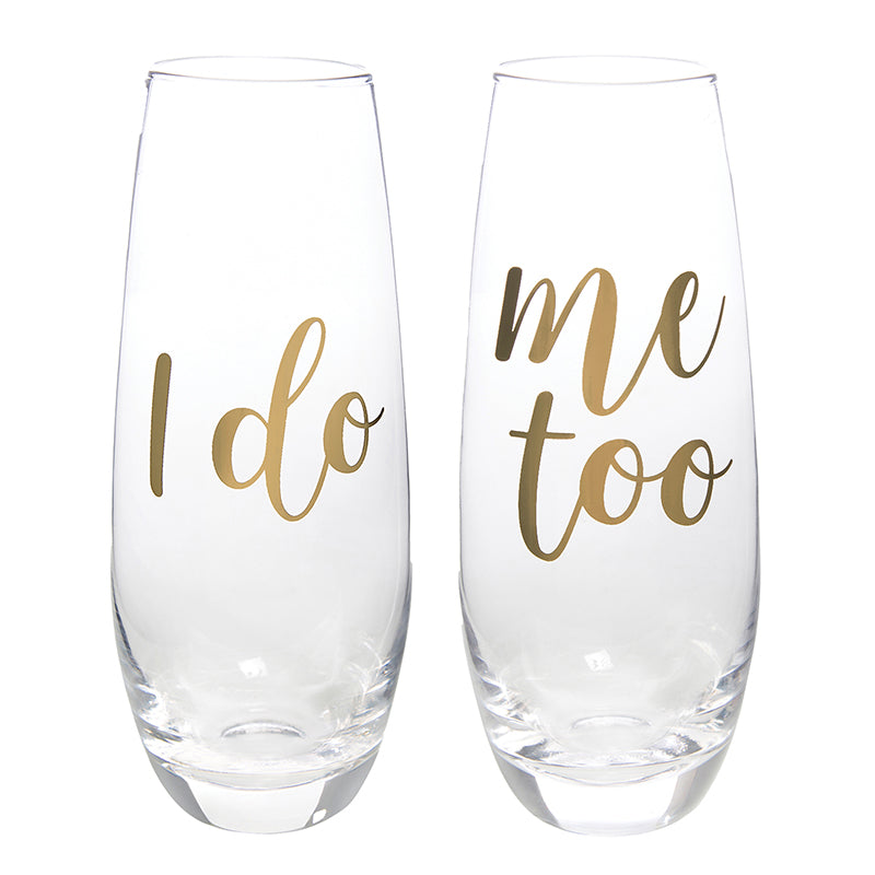 I DO, ME TOO CHAMPAGNE FLUTE SET